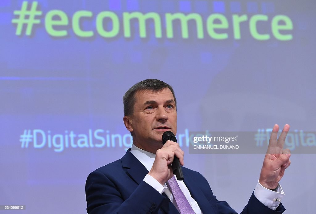European Commissioners Andrus Ansip addresses the press on new proposals adopted under the Digital Single Market strategy at the European Commission in Brussels, on May 25, 2016. The commission revealed key pillars of Europes digital road map , proposing another round of initiatives designed to tackle everything from online shopping to cross-border shipping, as well as new rules for the audiovisual sector. / AFP / EMMANUEL