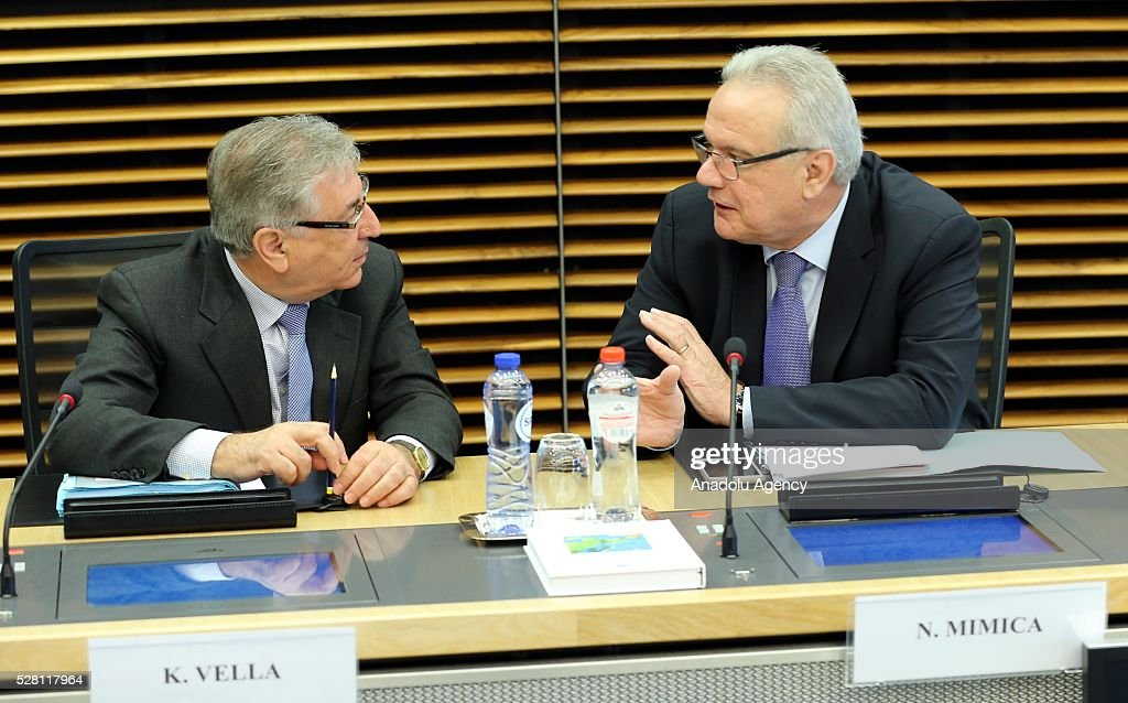 European Commissioners Neven Mimica (R) and Karmenu Vella (L) attend a meeting on European Commission's third visa liberalization progress reports for Turkey, Ukraine, Georgia and Kosovo in Brussels, Belgium on May 04, 2016.