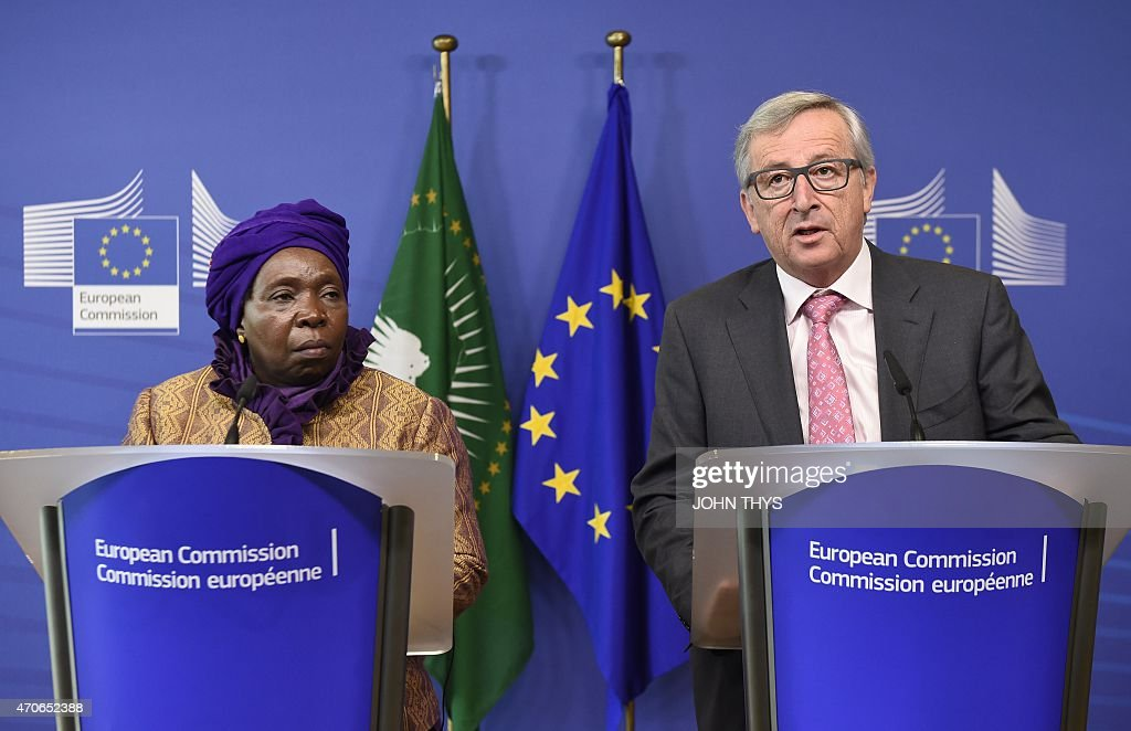 European Commission's President <a gi-track='captionPersonalityLinkClicked' href=/galleries/search?phrase=Jean-Claude+Juncker&family=editorial&specificpeople=207032 ng-click='$event.stopPropagation()'>Jean-Claude Juncker</a> (R) and African Union Commission's president <a gi-track='captionPersonalityLinkClicked' href=/galleries/search?phrase=Nkosazana+Dlamini-Zuma&family=editorial&specificpeople=752696 ng-click='$event.stopPropagation()'>Nkosazana Dlamini-Zuma</a> (L) on April 22, 2015 after their bilateral meeting at EU headquarters in Brussels.