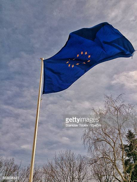 European Community Flag Against Cloudy Sky