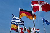 European community flags on poles