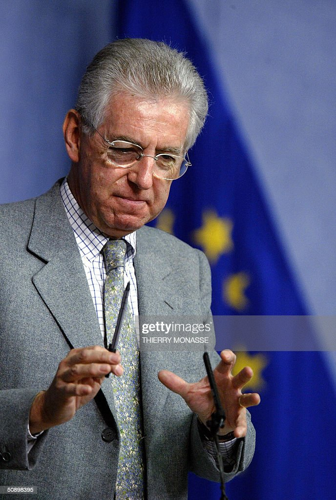 European Competition Commissioner Italian Mario Monti holds a press conference on Alstom at the European Union headquarters in Brussels 26 May 2004...