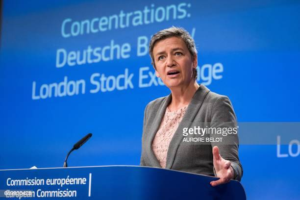 European Competition Commissioner Margrethe Vestager speaks during a press conference in Brussels on March 29 2017 about the EU decision to block the...