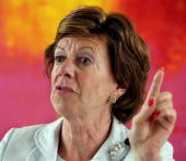 European Competition Commissioner Neelie Kroes speaks at a news conference in Bonn Germany Friday July 7 2006