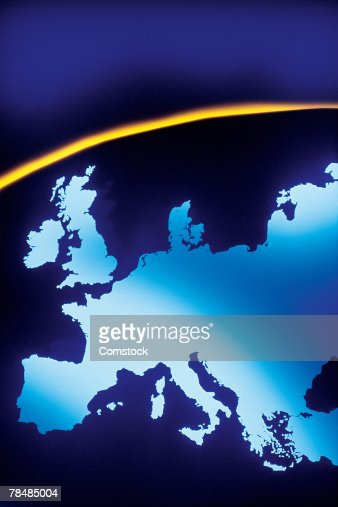 European continent on curved surface