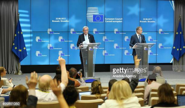 European Council President Donald Tusk and European Commission President JeanClaude Juncker attend a press conference after the European Union...