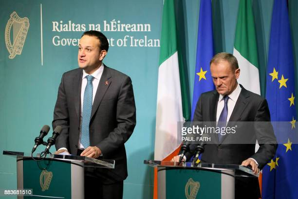 European Council President Donald Tusk and Ireland's Prime Minister Leo Varadkar address a joint press conference at the Government buildings in...