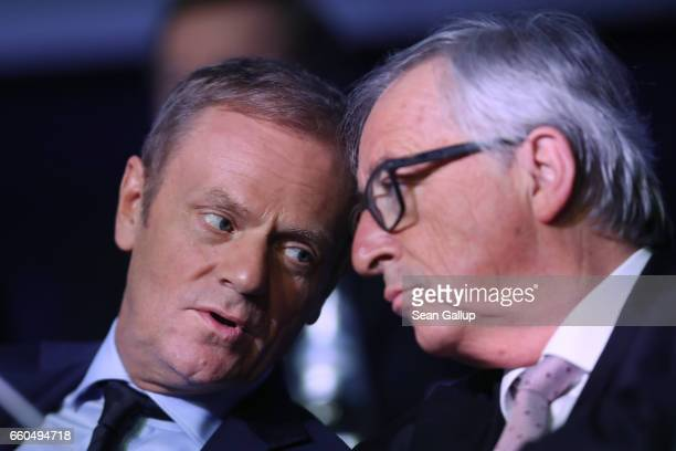 European Council President Donald Tusk and JeanClaude Juncker President of the European Commission attend the European People's Party Congress on...