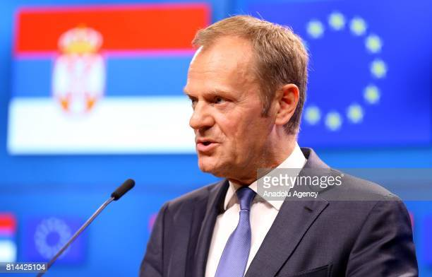 European Council President Donald Tusk and President of Serbia Aleksandar Vucic hold a joint press conference following their meeting in Brussels...