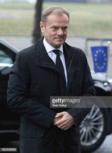 European Council President Donald Tusk arrives for the state memorial ceremony for the late former German President Roman Herzog at the Dom cathedral...