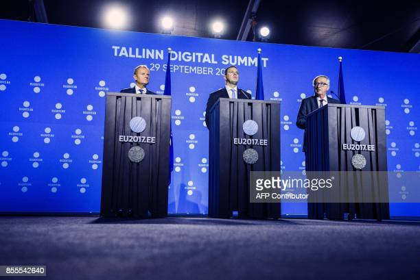 European Council President Donald Tusk Estonian Prime Minister Juri Ratas and European Commission President JeanClaude Juncker hold a press...