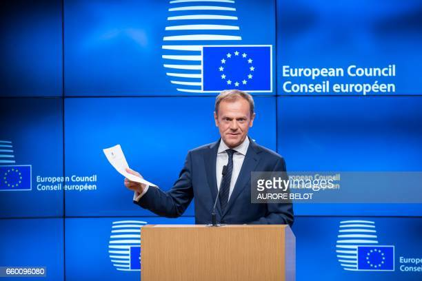 European Council President Donald Tusk gives a press conference after receiving formal notice launching the Brexit in Brussels on March 29 2017...