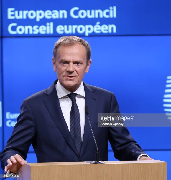 European Council President Donald Tusk holds a press conference after his meeting with British Prime Minister Theresa May's Britain's ambassador to...