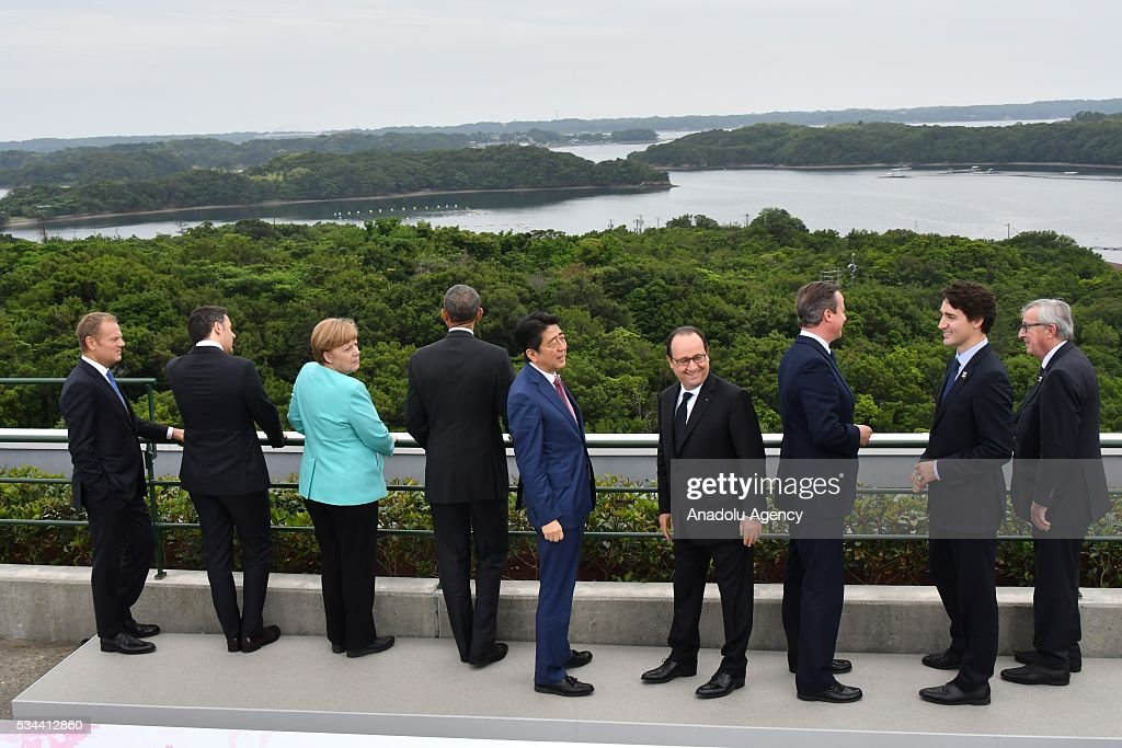 European Council President Donald Tusk, Italian Prime Minister Matteo Renzi, German Chancellor Angela Merkel, US President Barack Obama, Japanese Prime Minister Shinzo Abe, President of the French Republic François Hollande, British Prime Minister David Cameron, Canadian Prime Minister Justin Trudeau and European Commission President Jean-Claude Juncker are seen at Shima Kanko Hotel during the first day of the G7 leaders summit in the city of Ise in Mie prefecture, Japan on May 26, 2016.