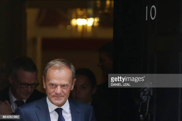 European Council President Donald Tusk leaves 10 Downing Street after his meeting with Britain's Prime Minister Theresa May in central London on...
