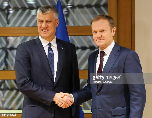 European Council President Donald Tusk meets President of Kosovo Hashim Thaci in Brussels Belgium on February 08 2017