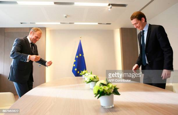 European Council President Donald Tusk sits with Austrian Minister of Foreign Affairs and leader of the Austrian people's Party Sebastian Kurz in...