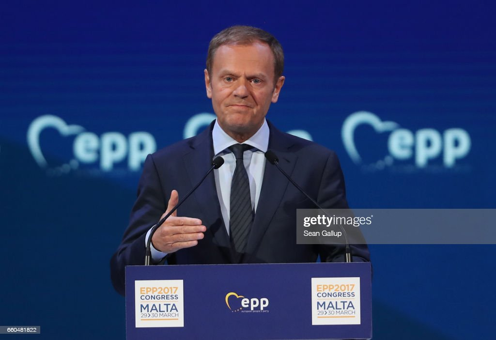 European Council President Donald Tusk speaks at the European People's Party (EPP) Congress on March 30, 2017 in San Giljan, Malta. The EPP, which includes many European Christian democratic parties, is bringing together leaders from across Europe for a two-day congress. Europe is facing a new reality since yesterday, when United Kingdom officially triggered Article 50 to leave the European Union.