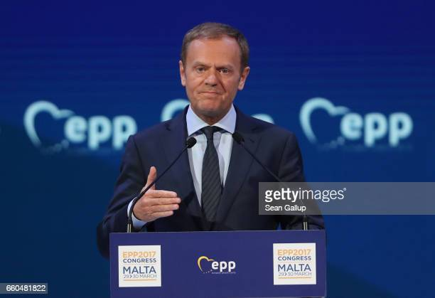 European Council President Donald Tusk speaks at the European People's Party Congress on March 30 2017 in San Giljan Malta The EPP which includes...
