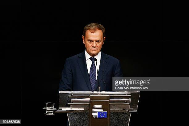 European council president Donald Tusk speaks to the media after The European Council Meeting In Brussels held at the Justus Lipsius Building on...
