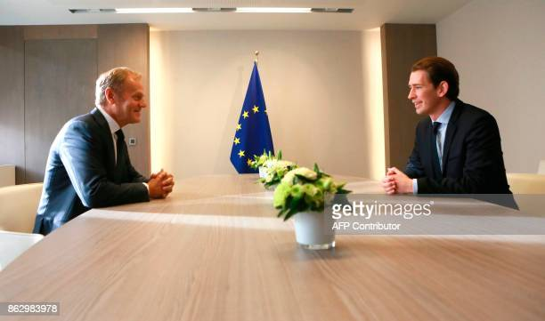 European Council President Donald Tusk speaks with Austrian Minister of Foreign Affairs and leader of the Austrian people's Party Sebastian Kurz in...