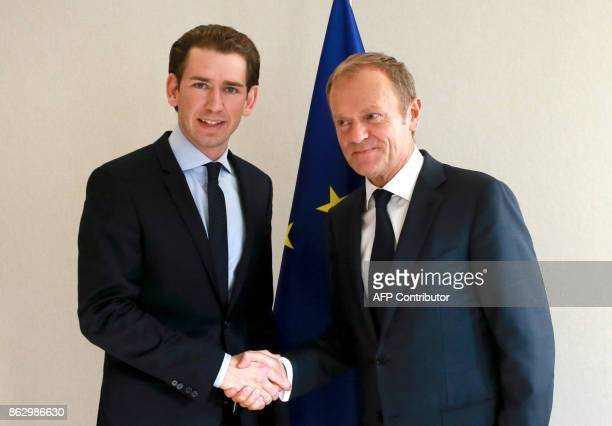 European Council President Donald Tusk welcomes Austrian Minister of Foreign Affairs and leader of the Austrian people's Party Sebastian Kurz in...