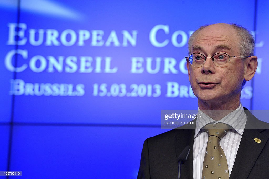 European Council President Herman Van Rompuy attends a press conference at the EU Headquarters on March 15, 2013 in Brussels, during a two-day European Union leaders summit. EU leaders hold a second and final day of summit talks from with attention turning to relations with Russia.