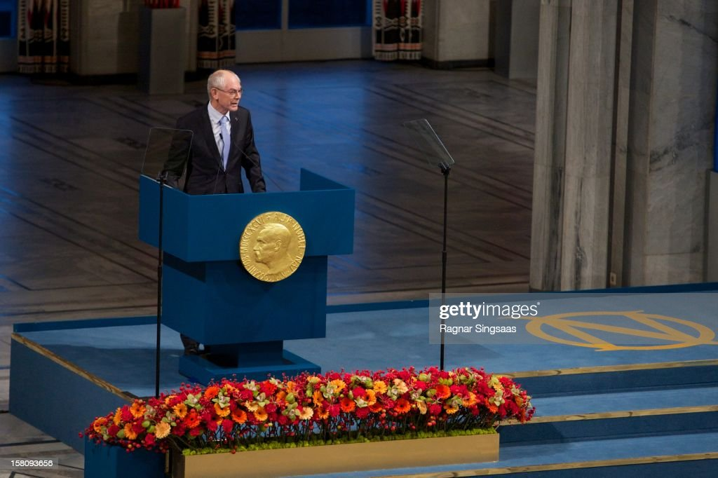 European Council President <a gi-track='captionPersonalityLinkClicked' href=/galleries/search?phrase=Herman+Van+Rompuy&family=editorial&specificpeople=4476281 ng-click='$event.stopPropagation()'>Herman Van Rompuy</a> gives an acceptance speech at The Nobel Peace Prize Ceremony at Oslo City Hall on December 10, 2012 in Oslo, Norway.