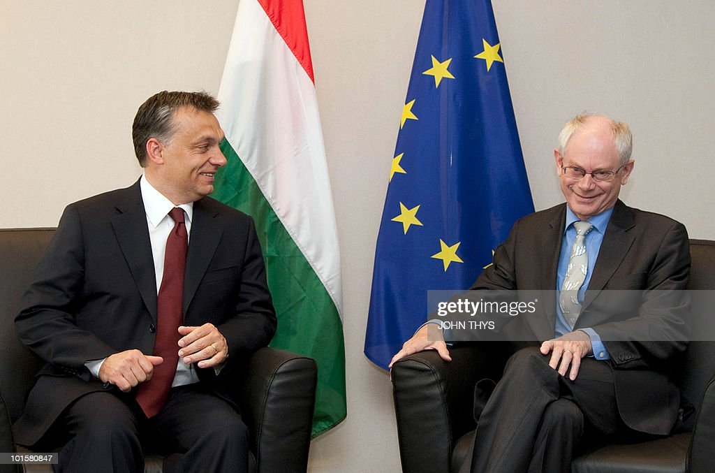 European Council President Herman Van Rompuy (R) sits Hungarian Prime Minister Viktor Orban prior to their bilateral meeting at the EU headquarters in Brussels on June 3, 2010. Hungary is scheduled to take over the rotating EU presidency in the first half of next year.