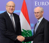 European Council President Herman Van Rompuy welcomes Lebanon Prime minister Najib Mikati prior to their bilateral meeting at the EU headquarters in...