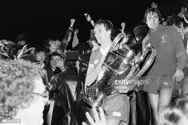 European Cup Final at the Parc Des Princes in Paris France Liverpool 1 v Real Madrid 0 Phil Thompson holds the European cup trophy after the match...