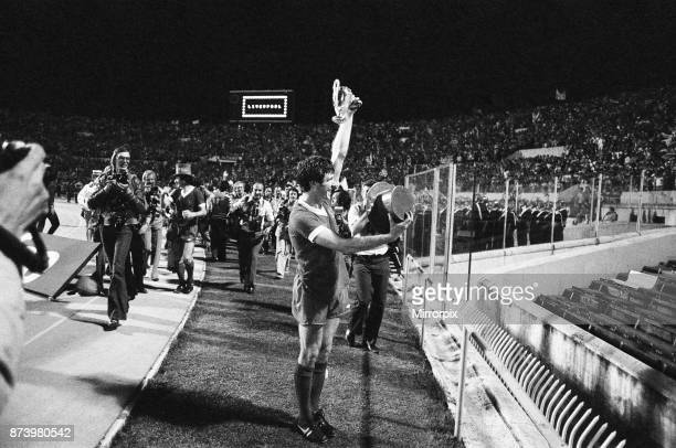 European Cup Final held at the Stadio Olimpico in Rome Italy Liverpool 3 v Borussia Moenchengladbach 1 Liverpool's Emlyn Hughes celebrates after...