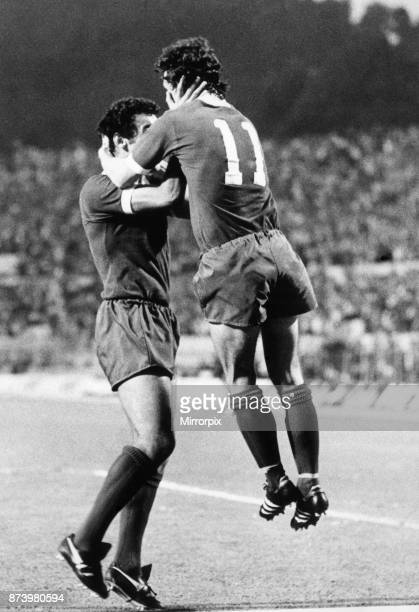 European Cup Final held at the Stadio Olimpico in Rome Italy Liverpool 3 v Borussia Moenchengladbach 1 Liverpool's Terry McDermott celebrates the...