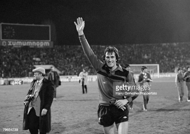 European Cup Quarter Final 2nd Leg CSKA Sofia 0 v Liverpool 1 18th March 1981 Liverpool goalkeeper Ray Clemence happy at the end as he walks from the...
