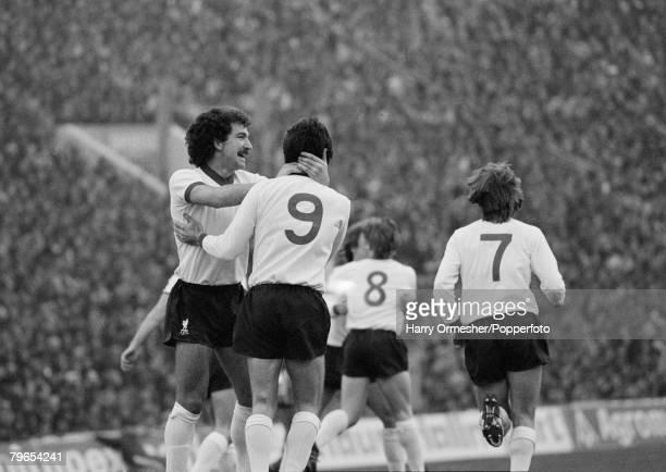 European Cup Quarter Final 2nd Leg CSKA Sofia 0 v Liverpool 1 18th March 1981 Graeme Souness congratulates Liverpool goalscorer David Johnson