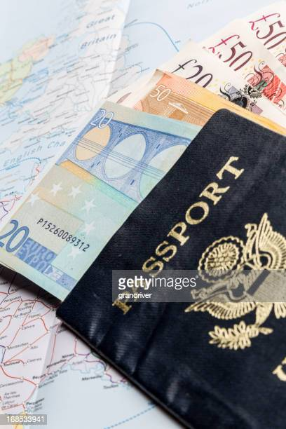 European Currency, American Passport and Map