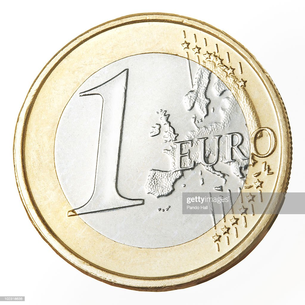European currency: one Euro coin, close-up : Stock Photo
