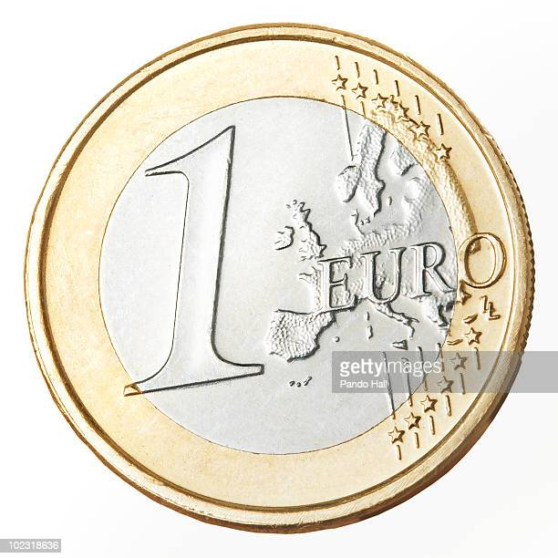 European currency: one Euro coin, close-up