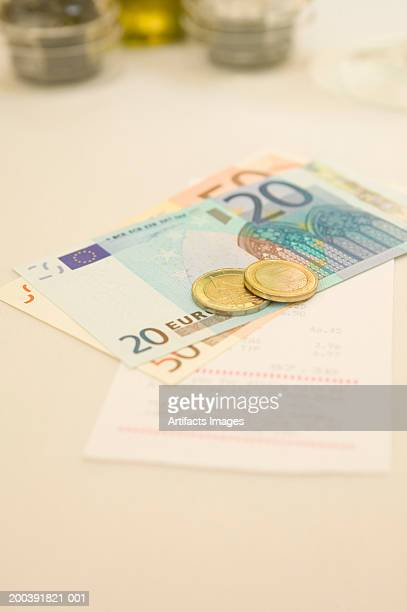 European currency with bill