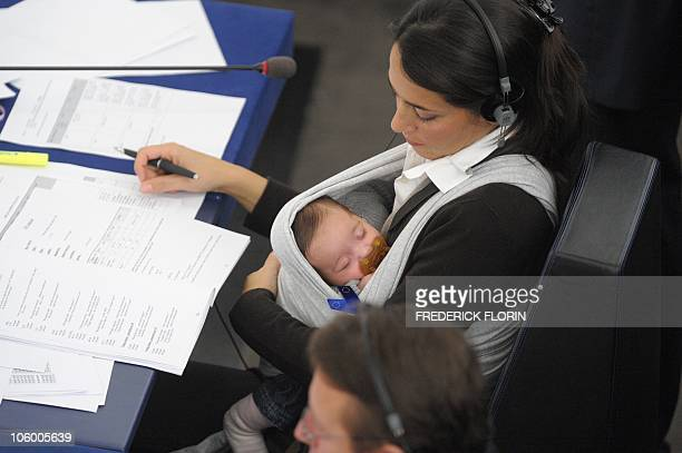 European deputy Licia Ronzulli takes part on October 20 2010 at the European Parliament in the northeastern French city of Strasbourg in a vote in...