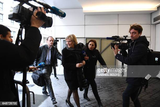 European deputy Nadine Morano arrives at the headquarters of LR on March 6 2017 in Paris to take part in a meeting to discuss presidential candidacy...