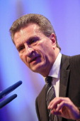 European Energy Commissioner Guenther Oettinger speaks at the 2013 German Economic Council conference on June 25 2013 in Berlin Germany The German...