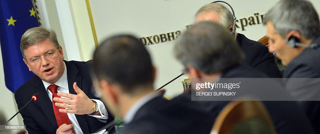 European enlargement and neighborhood policy commissioner for Stefan Fuele ( L) meets with opposition and majority faction leaders on February 7, 2013 at the Ukrainian Parliament in Kiev. Fuele is on a two-day visit to Ukraine to prepare the February 25 Ukraine-EU summit.