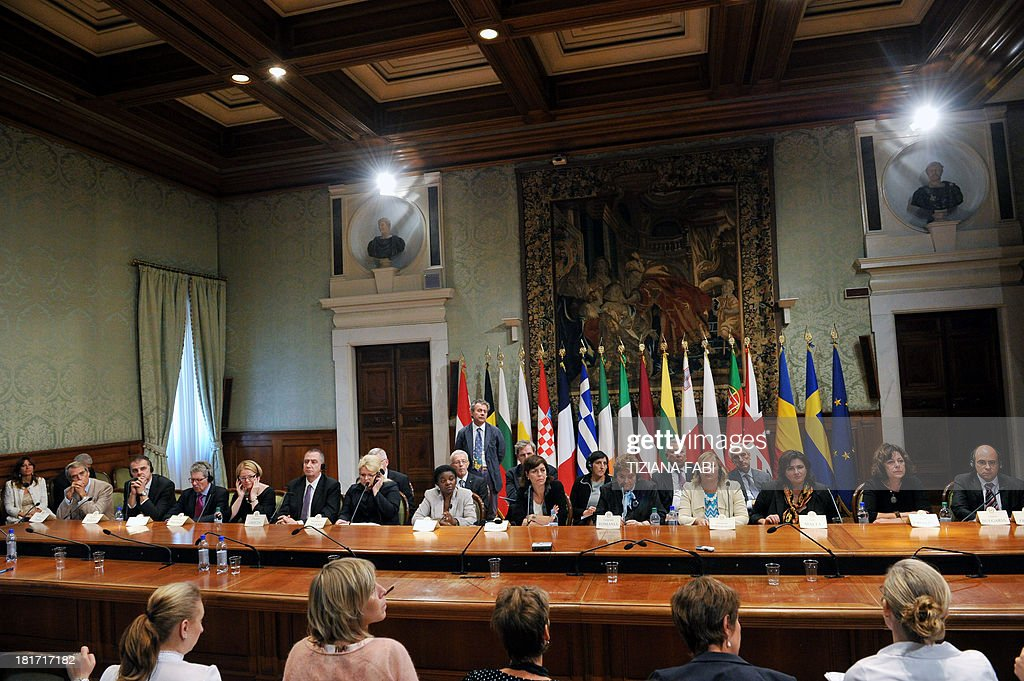 European Equality ministers give a press conference at Chigi Palace in Rome on September 23, 2013. The ministers should sign a declaration against racism.