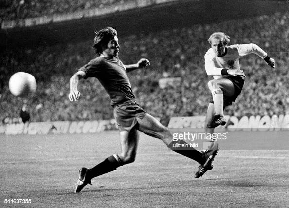 UEFA European Football Championship quarterfinal first leg in Madrid Spain vs Fed Rep of Germany 11 goal Germany 11 by Erich Beer April 24 1976