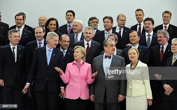 European Foreign Ministers pose with US Secretary of State Hillary Clinton for a family picture on April 5 2009 during the EUUS summit in Prague US...