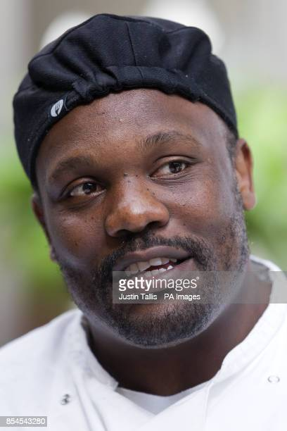 European Heavyweight Champion Dereck Chisora speaks to journalists during a 'Recipe For Success' photocall at Frederick's Restaurant in North London