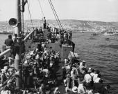 European Jews displaced by World War Two arrive by ship to Haifa Israel circa 1945