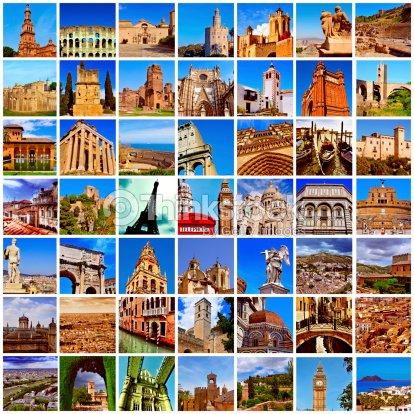 European Landmarks Collage Stock Photo