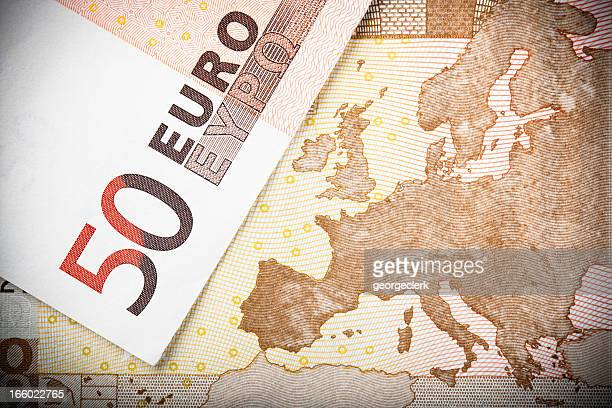 La mappa europea in 50 €nota